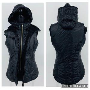 Lululemon Black Faux Fur Lined Down Hooded Vest